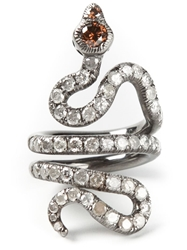 Loree Rodkin Gold And Diamond Pave Coiled Snake Pinky Ring Metallic