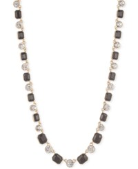 Anne Klein Gold Tone Stone And Crystal Collar Necklace Jet