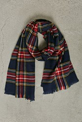 Forever 21 Men Plaid Flannel Scarf Blue Red