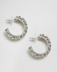 Asos Chunky Curb Chain Hoop Earrings Rhodium Silver