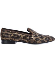 Louis Leeman Leopard Embellished Slippers Brown
