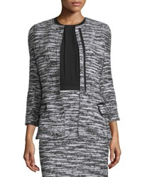 Oscar De La Renta Bracelet Sleeve Boucle Tweed Jacket Black White Black White