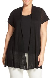 Plus Size Women's Eileen Fisher Hemp Blend Short Sleeve Open Front Cardigan