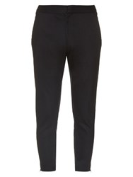 Alexander Mcqueen Zip Detail Cropped Chino Trousers Navy