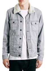 Topman Grey Lined Denim Jacket With Detachable Fleece Collar