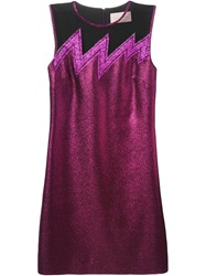 Christopher Kane Tulle Paneled Lame Mini Dress Pink And Purple