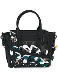 Coach Medium 'Butterfly' Embellished Tote Black