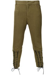 Haider Ackermann Lace Up Biker Trousers Green