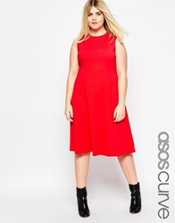 Asos Curve Empire Midi Dress With High Neck Red