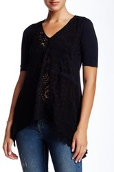 3J Workshop Lace Trimmed Short Sleeve Blouse Black