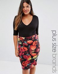 Club L Plus Plus Plunge Midi Dress With Floral Print Skirt Black Red