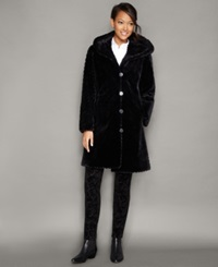 The Fur Vault Hooded Sheared Beaver Fur Coat Onyx Black