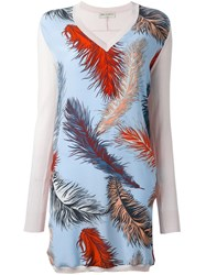 Emilio Pucci Feather Print Knit Dress Multicolour