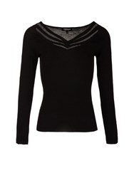 Morgan Glittery Fishnet Paneled Knitted Jumper Black