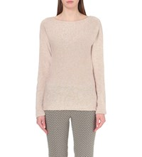 Etro Metallic Knit Cashmere And Silk Blend Jumper Pale Pink