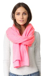 White Warren Cashmere Travel Wrap Scarf Neon Azalea Heather