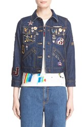 Women's Marc Jacobs Embroidered Patch Denim Jacket Resin Rinse