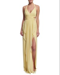 Marchesa Notte Sleeveless V Neck Draped Halter Gown Size 8 Yellow Lemon