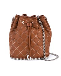 Stella Mccartney Mini Falabella Quilted Bucket Bag Brown Silver
