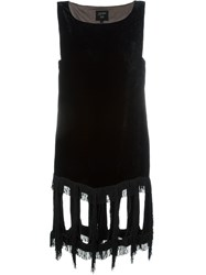 Jean Paul Gaultier Vintage Fringed Velvet Dress Black