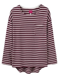 Joules Bay Jersey Top Burgundy Stripe
