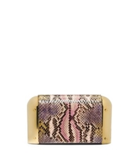 Michael Kors Leyla Small Hand Painted Python Clutch Leaf Combo