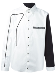 Nasir Mazhar Piping Detail Shirt With Contrasting Sleeves White