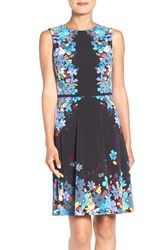London Times Women's Placed Floral Print Fit And Flare Dress