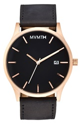Mvmt Leather Strap Watch 40Mm Black Rose Gold