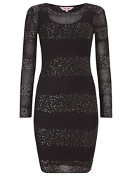 Phase Eight Abril Stripe Sequin Panel Dress Black