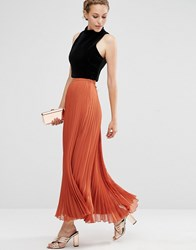 Asos Pleated Maxi Skirt Rust Orange