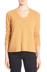 Eileen Fisher Boxy Wool V Neck Pullover Orange