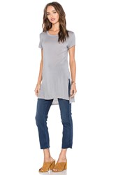 Enza Costa Cap Sleeve Side Slit Tunic Gray