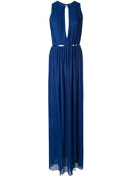 Jay Ahr Plisse Evening Gown Blue