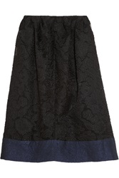 Michael Van Der Ham Gauze Brocade And Cloque Midi Skirt Black