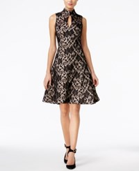 Jax Lace Keyhole Mock Neck Fit And Flare Dress Black Peach