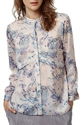 Women's Topshop Marble Print Pleat Back Shirt