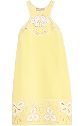 Emilio Pucci Embroidered Silk And Cotton Blend Mini Dress Yellow