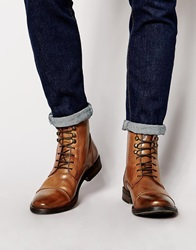 Base London Clapham Leather Military Boots Brown