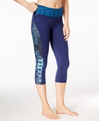 Gaiam Luxe Printed Capri Yoga Leggings Midnight Blue Patchwork