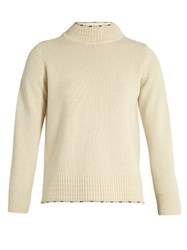 Mih Jeans Tipped Guernsey High Neck Cashmere Sweater Cream