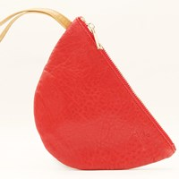 Freay Leather Half Moon Wristlet Pouch Red