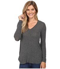 B Collection By Bobeau Alice Long Sleeve Tee Charcoal Grey Women's T Shirt Gray