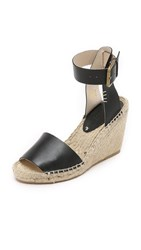 Soludos Open Toe Wedge Leather Espadrilles Black