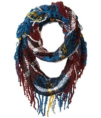 Hat Attack Fringed Loop Blue Plaid Scarves Multi