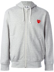 Comme Des Garcons Play Zipped Hoodie Grey