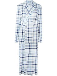 Msgm Plaid Tie Waist Trench Coat White
