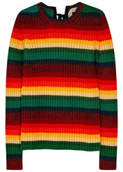 No.21 Striped Ribbed Wool Jumper Multicoloured