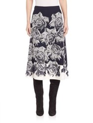 St. John Intarsia Floral Knit Skirt Frost Navy