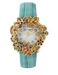Betsey Johnson Goldtone Flower Case And Mint Leather Strap Watch Blue